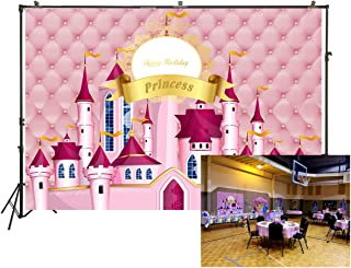6.5x5ft Photography Backdrop Royal Pink Dream Castle Princess Girl Birthday Party Backdrop Photo Background Baby Shower Photo Studio Booth Background W-897