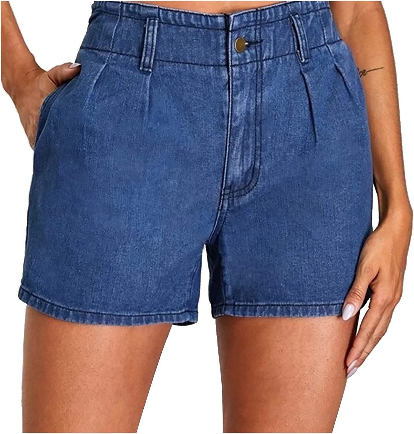 JPVDPA Women's High Waist Denim Jeans Casual Old Pocket Solid Color Jeans Doing Old Torns Shorts Pants