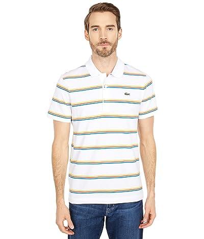 Lacoste Short Sleeve Horizontal Stripe Polo (White/Ultramarine/Gladiolus/Wasp) Men