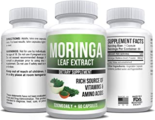 Moringa Oleifera Leaf Extract 1,200mg Daily Top Weight Loss 30-Day Supply 60 Capsules All-Natural Herbal and Max Fat Burner Supplement | Energy & Metabolism Booster