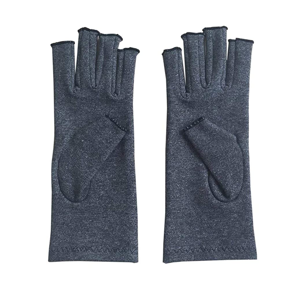 バング収まるくつろぎAペア/セットの快適な男性の女性療法の圧縮手袋ソリッドカラーの通気性関節炎関節痛軽減手袋 - グレーL