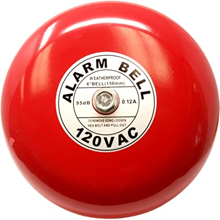 4 Inch 100mm Alarm Bell 12V Electric Metal Fire Control Internal Strike Wired Bell Wall Mounted Accessories