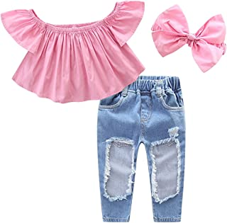 Yasson 3 Pcs Baby Girl Clothing Set Summer Off Shoulder Sleeveless Top Shirt and Destroyed Jeans Pants Used Look with Bow Stirband Set 3 Designs