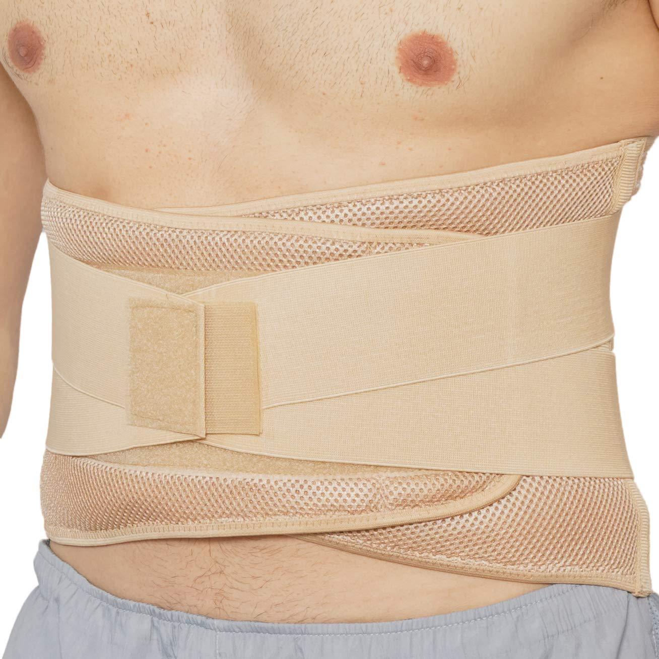 Apoyo lumbar con fuertes tirantes de doble banda, Faja para la Cintura / Espalda / Zona lumbar - Marca Neotech Care - Color Beige - Talla XL