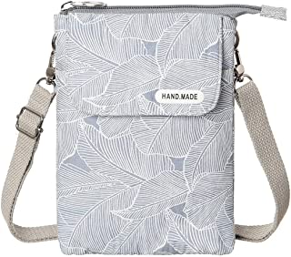 WITERY Leaf Pattern Canvas Cell Phone Purse Wallet Lightweight Crossbody Bags for Women Girls