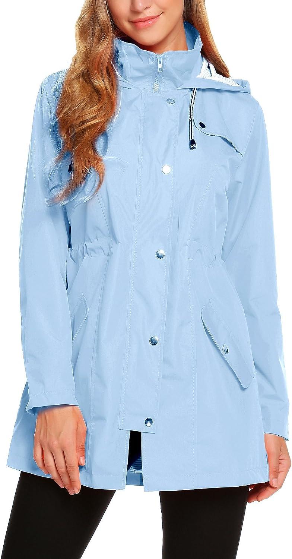 ZHENWEI Womens Lightweight Hooded Waterproof Active Outdoor Rain Jacket S-XXL