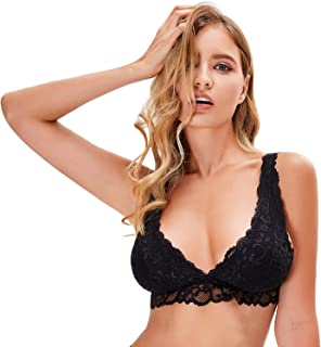 Wingslove Women's 1-2 Pack Floral Lace Bralettes Top Deep V Plunge Wirefree Bra with Removable Pads