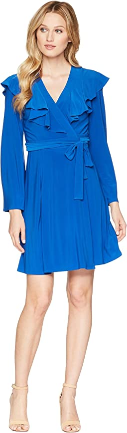 Bell Sleeve Ruffle Neck Wrap Tie Dress