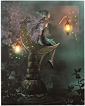 Oak Street Wholesale OSW Fairy Girl Sitting in Moon Garden 2 Lanterns Fibre Optic Light Up Canvas Art 6 Hour On Timer Wall Decor Color Picture