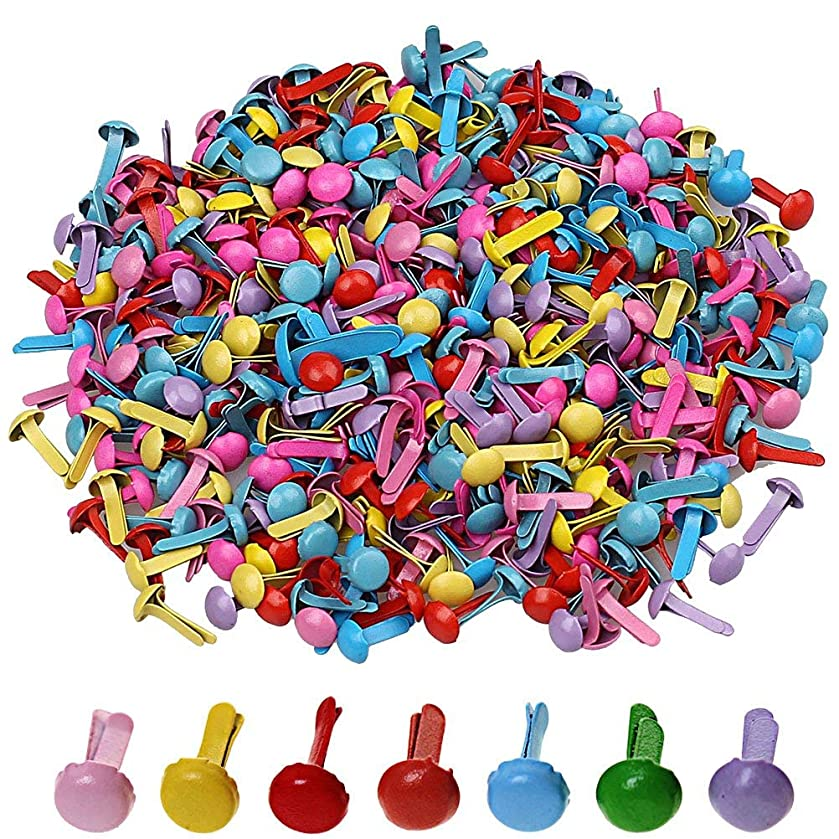 Craft Brads Fasteners,700 Pcs Mini Brads,Metal Brad Paper Fastener for Scrapbooking Craft DIY Paper, Random Colors(8 x 12mm)