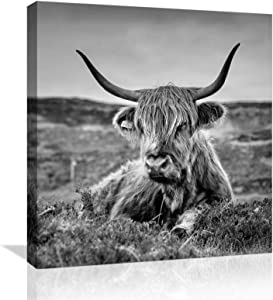 Highland Cow Wall-Art for Bedroom Bathroom Living-Room Office Decor, Framed Paintings Modern Farmhouse Wall Art, Canvas Wall Decor Picture Artwork for Home Art Prints with Wood Frame Size 14