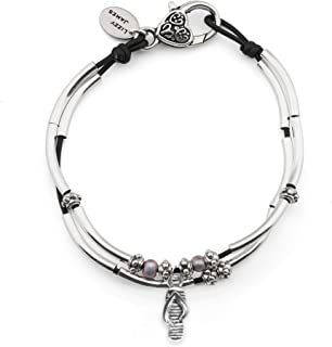 Lucy Anklet w Sandal Charm in Natural Black Leather Silver Plate Crescents Freshwater Pearls