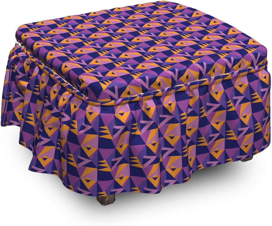 Ambesonne Abstract Ottoman Long Beach Mall Cover OFFicial store Vivid 2 Polygonal P Geometric