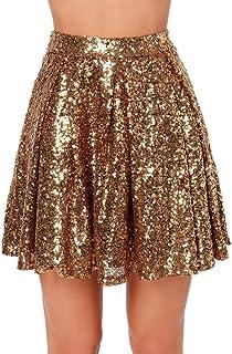Weyeei Donna Mini Gonna Paillettes Estate Partito Campana Clubwear Gonne