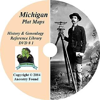 Michigan Plat Maps & Atlas on DVD -105 Books, 4,206 Maps - Genealogy & History - DVD