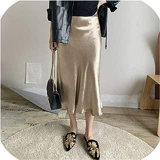 Solarphoenix Falda de satén Brillante para Mujer, Falda de Oficina de PVC, Faldas metálicas de Cintura Alta