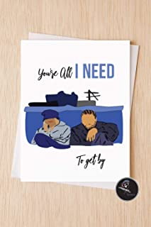 Sweet Modern Love Card, You're All I Need To Get By, 90's Classic Rap R&B Vintage Valentines day Card for Husband, Love Card Wife