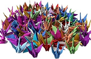 100 Pcs Glitter Origami Paper Cranes, Folded DIY Japanese Crane Mobile String Garland for Wedding Baby Shower Party Decoration Backdrop Home Decoration, Glitter Multi-Colors