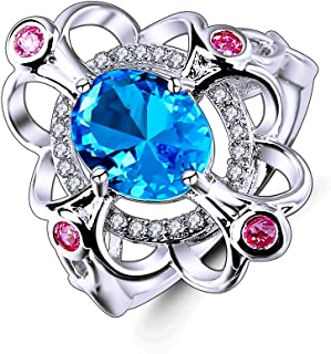 Psiroy 925 Sterling Silver Created Rainbow Topaz Filled Art Deco Statement Ring Women
