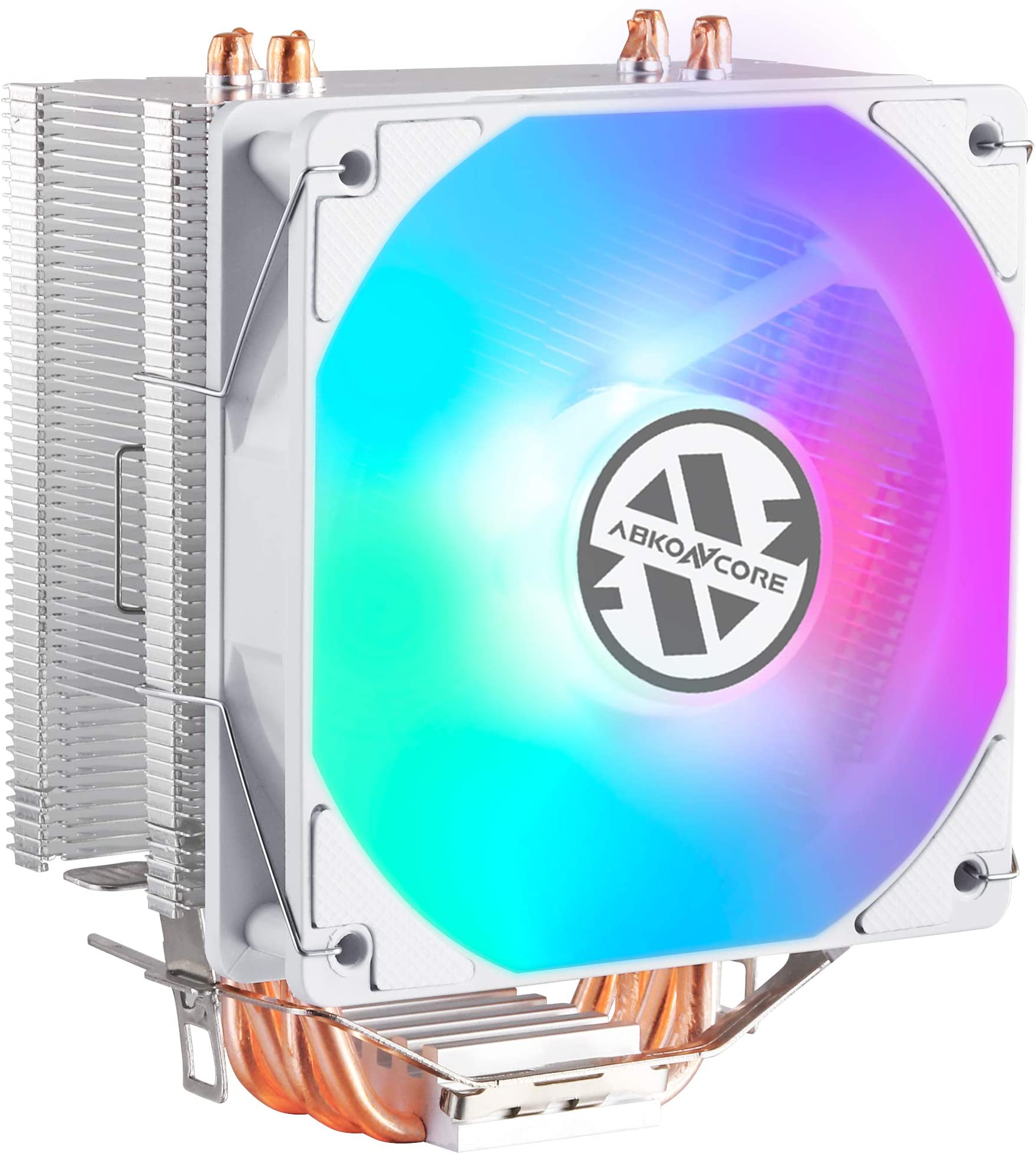 ABKONCORE LED CPU Cooler White CT405W, 120mm PWM Quiet Fan CPU Air Cooler with Hydro Bearing and Anti-Vibration Pads, 4 Direct Contact Heatpipes, LED CPU Fan for Intel LGA1155/1156/1366/2011, AMD AM4