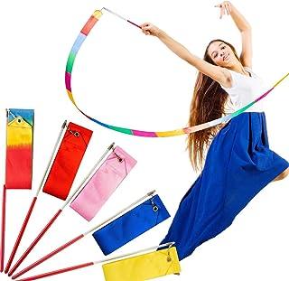 DELFINO Gymnastics Ribbon Dance Ribbons Multicolor Artistic Streamer Rhythmic Wands Baton Twirling on Stick for Kids Gym T...