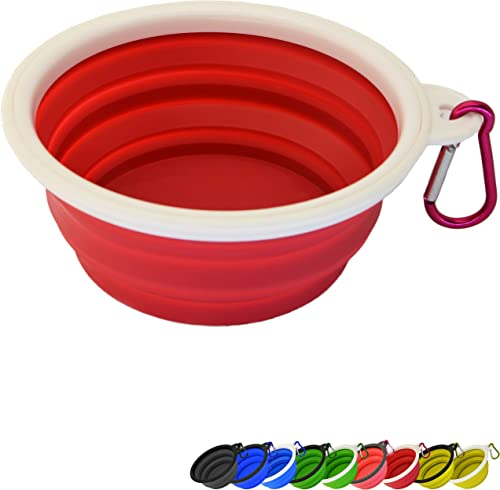 Zenify Dog Bowl - 400ml Collapsible Foldable Food and Water Feeder Dish - Portable Travel Leash Lead Slim Accessories...