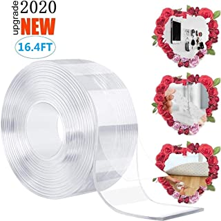 Double Sided Tape Heavy Duty, Washable Nano Mounting Tape Adhesive Grip, Multipurpose Removable Traceless Transparent Tape, Strong Sticky Wall Tape Strips Poster Carpet Tape for Paste Items(16.4 ft)