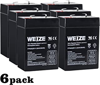 Weize 6V 4.5AH Sealed Lead Acid Rechargeable Battery Replace 6 Volt 4AH 5AH - 6 PACK
