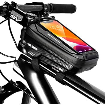 Teuen Bike Frame Bag Waterproof Bike Phone Holder Bag With Touchscreen Large Capacity Cycle Top Tube Bags For Road Bike Mountain Bicycle Phone Bag For Smartphones Under 6 5 Inches Black Amazon Co Uk Sports