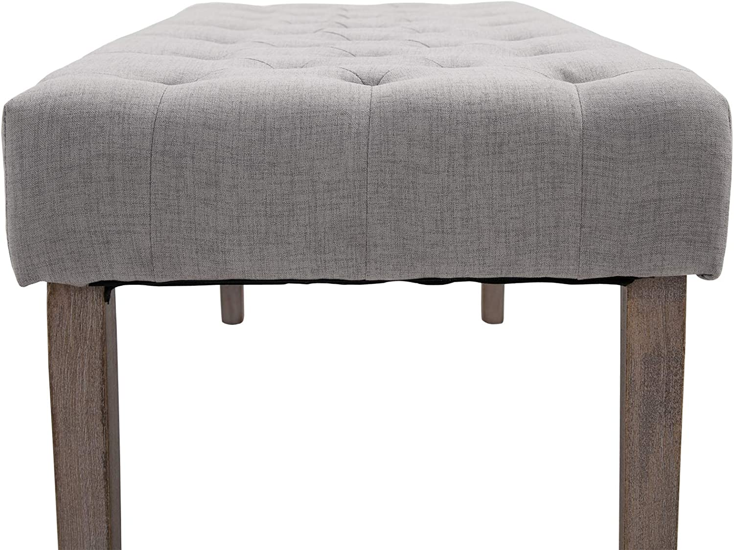 HOMCOM SimpleTufted Upholstered Ottoman Accent Bench with Soft Comfortable Cushion /& Fashionable Modern Design Grey