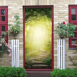 3D Door Decal Door Stickers Decor Door Mural Removable Vinyl Door Wall Mural Door Wallpaper for Home Decor(Fantasy Forest)