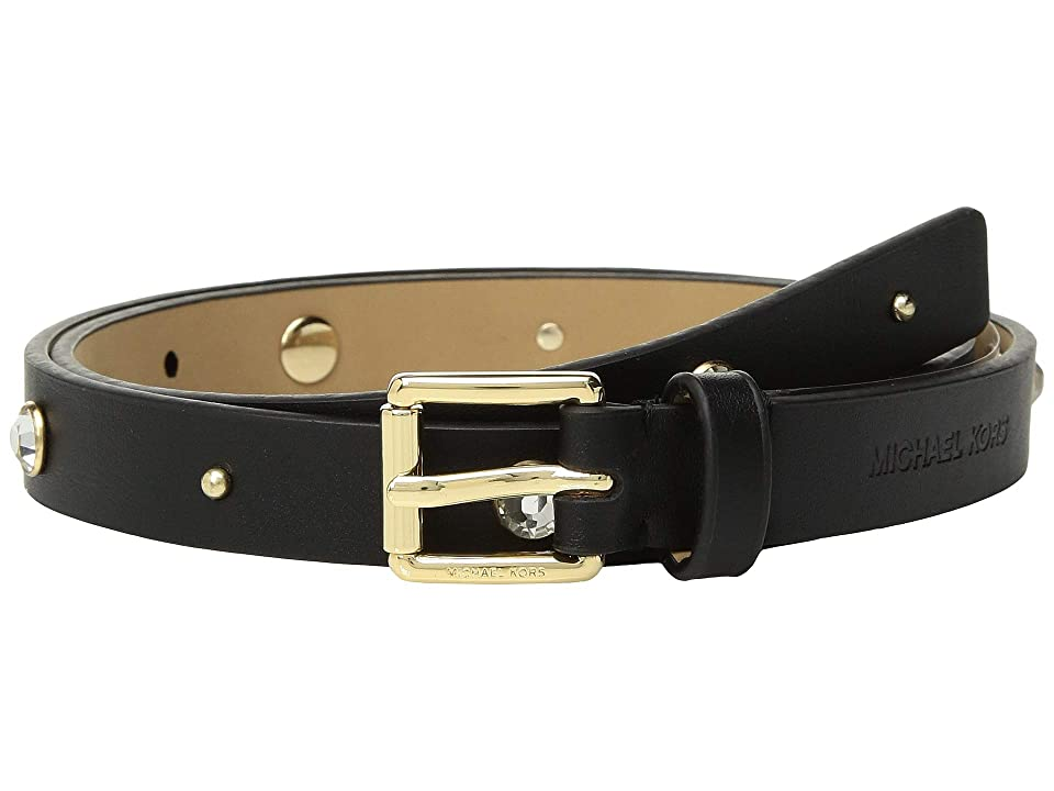 MICHAEL Michael Kors 18 mm Skinny Rhinestone Belt (Black/Light Polished Gold) Women