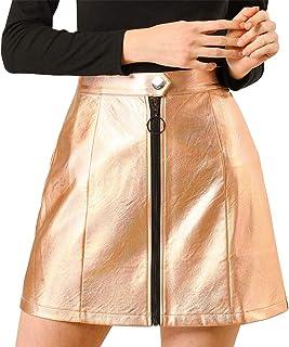 Allegra K Women's Metallic Mini Skirt Shiny Glitter Holographic High Waist Zipper Short Skirts