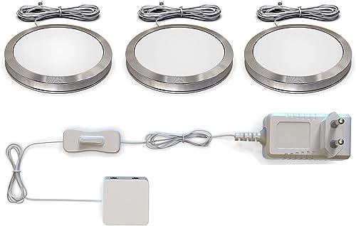 LED bajo luz de gabinete I Iluminación para Vitrinas I Pack de 3 I Set completo en total 6W I Blana cálida 3000K 510l...