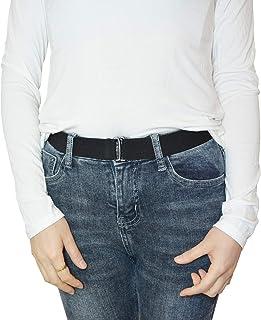 أحزمة مطاطية للنساء - حزام مطاطي غير مرئي قابل للتعديل في الهواء الطلق بدون مشبك مسطح لفستان جينز