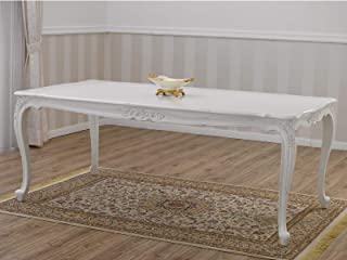 SIMONE GUARRACINO LUXURY DESIGN Table à Manger Merton Style Shabby Chic rectangulaire Blanc Vieilli 205 x 105 cm