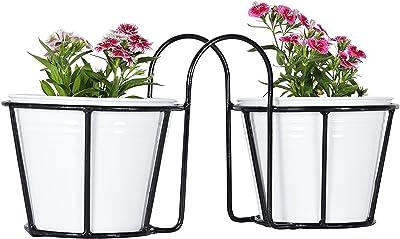 Green Gardenia Iron Balcony Railing Planter/Window Box with Metal Planter (White)