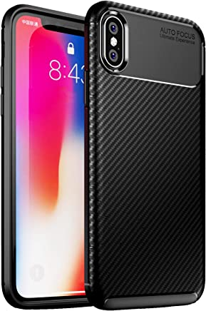 Golden Sand Compatible with Apple iPhone Xs Case Back Cover Drop Tested Shockproof Armor TPU Aramid Carbon Fibre Texture Black (iPhone X Cover Case)