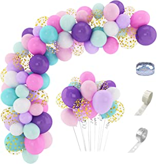 168 Pcs Unicorn Balloons Arch Garland Kit 12'' 10'' 5'' Confetti White Light Purple Pink Aqua Blue Latex Balloons Set for Wedding Baby Shower Unicorn Birthday Party Supplies Decorations with 3 Pcs Balloon Tools