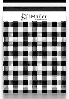 "100 Count - 10"" x 13"", Black Gingham Plaid Poly Mailer Envelope, Mailing Shipping Bags with Self Seal Strip"