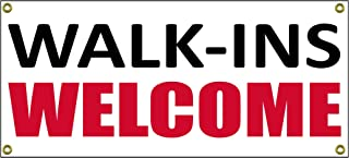 Walk Ins Welcome Banner Retail Store Shop Business Sign 36