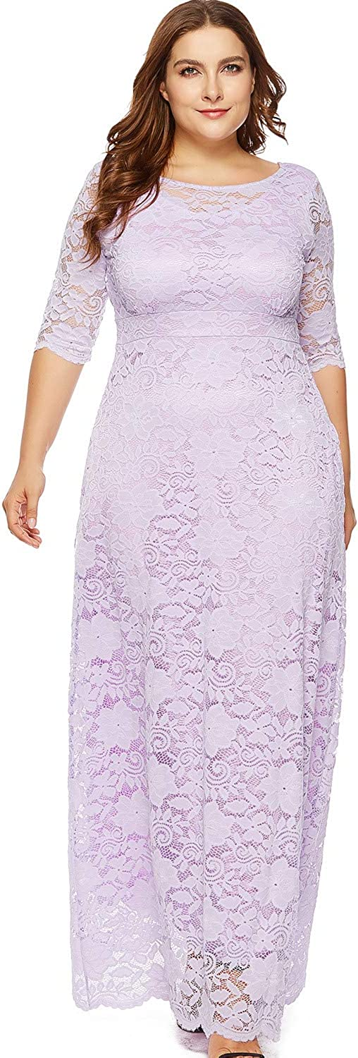 IHouse Women Plus Size Lace Formal Dress for Wedding Bridesmaid
