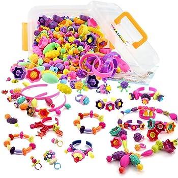 WTOR おもちゃ ビーズ アクセサリーキット DIY材料 手作り 知育玩具 メイキングトイ 女の子 子供のお誕生日プレゼント (500PCS)