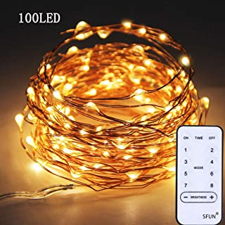 SFUN USB Powered Fairy String Lights with Remote Control 33ft 100LED 8 Modes for Valentine's Day Wedding Party Home Decoration (Warm White)