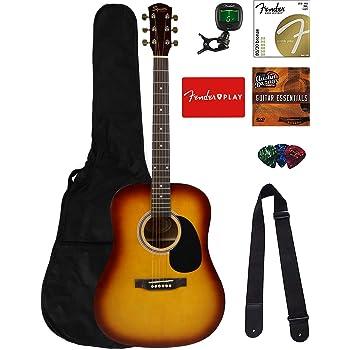 Fender Squier Dreadnought Acoustic Guitar - Sunburst Bundle with Fender Play Online Lessons, Gig Bag, Tuner, Strings, Strap, Picks, and Austin Bazaar Instructional DVD