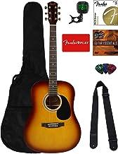 Fender Squier Dreadnought Acoustic Guitar - Sunburst Bundle with Fender Play Online Lessons, Gig Bag, Tuner, Strings, Stra...