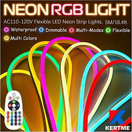 Waterproof 2835 SMD LED Rope Light 16.4ft//5m, Golden Yellow 120 LEDs//M IEKOV/™ AC 110-120V Flexible LED Neon Strip Lights Controller Power Cord for Home Decoration LED NEON Light