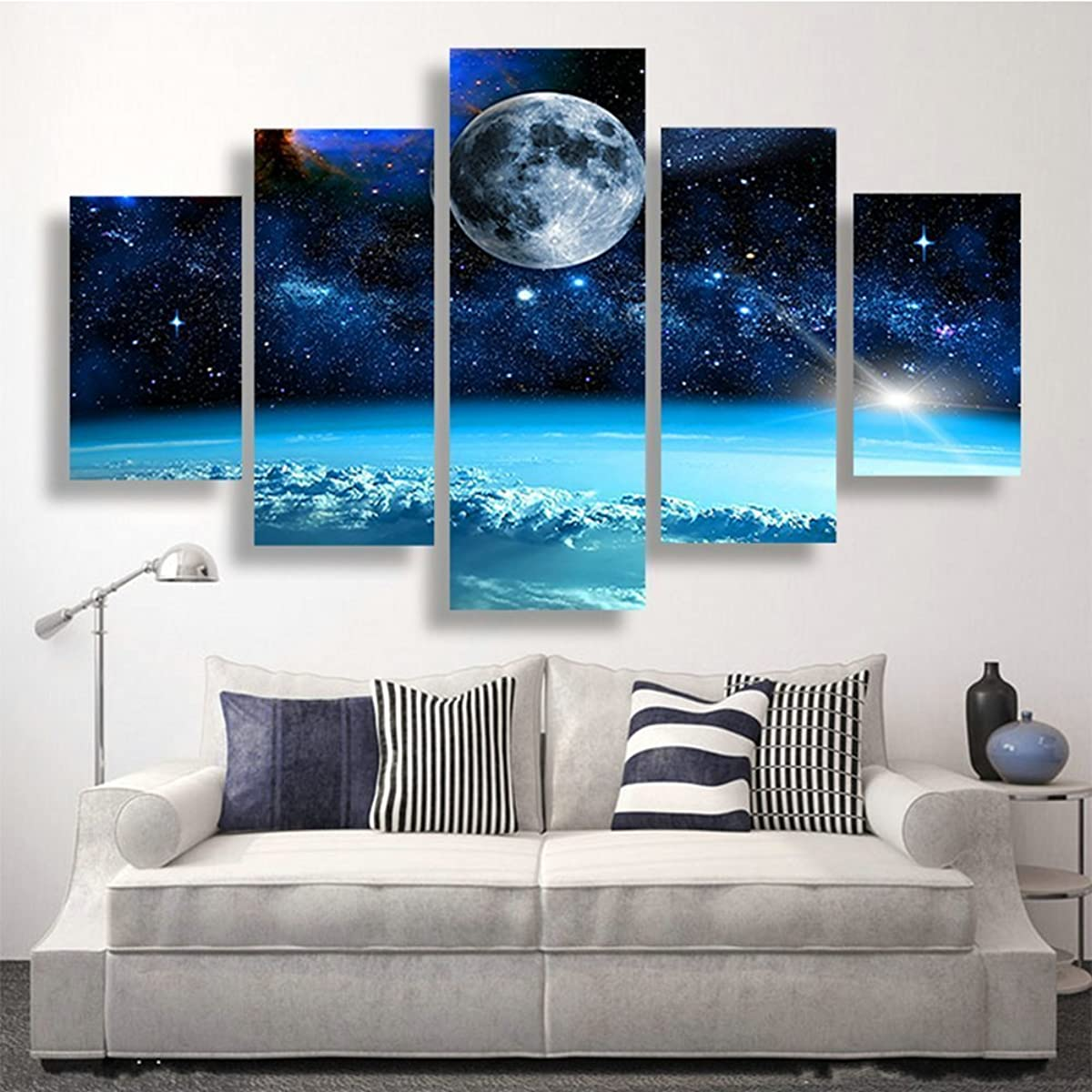 Blxecky DIY 5D Diamond Painting Cross Stitch Crafts Kit, 5 sets of splicing paintings. Home living room decoration. Starry sky