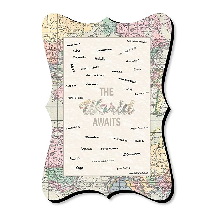 Big Dot of Happiness World Awaits - Unique Alternative Guest Book - Travel Themed Signature Mat