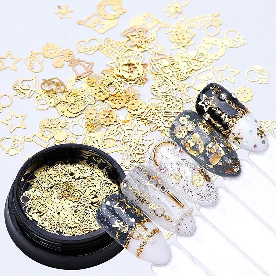 麦芽オーバードロー気づかないミクスネイルパーツ クリスマス タイニータイニー 雪の結晶 プレゼント ベル ゴールド ネイルスタッズネイルアート